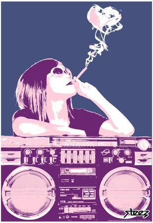 Steez Boom Box Joint - Pink Art Poster Print