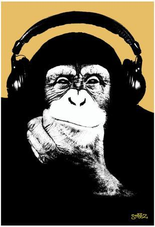 Steez Headphone Chimp - Gold Art Poster Print