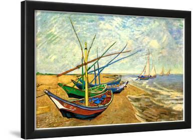 Vincent Van Gogh (Fishing boats on the beach at Saintes-Maries) Art Poster Print
