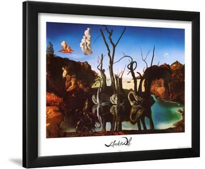 Salvador Dali Swans Reflecting Elephants White Border Art Print Poster