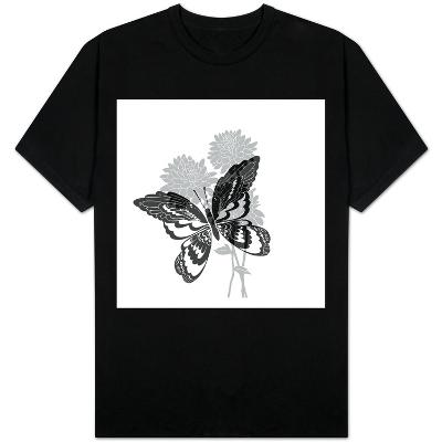 Greyscale Print of Butterfly on Flowers