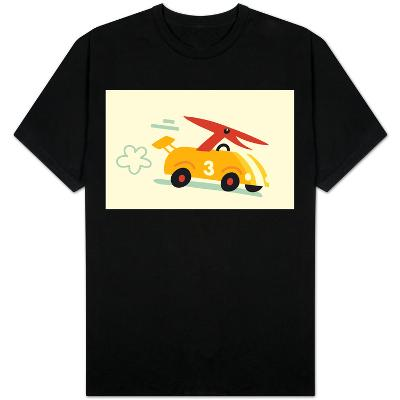 Orange Dino in Yellow Racecar