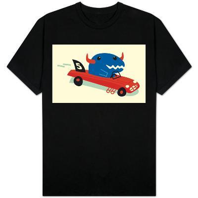 Blue Horned Dino in Racecar