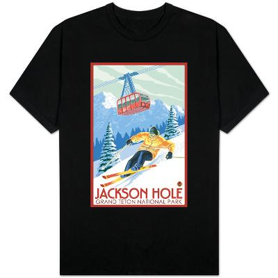 Wyoming Skier and Tram, Jackson Hole