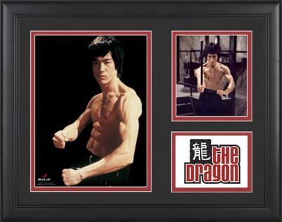 """Bruce Lee """"The Dragon"""" framed presentation with two photos"""