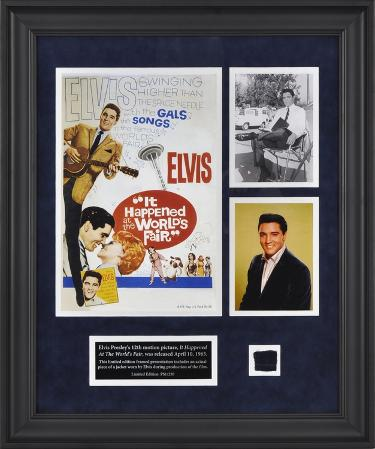 "Elvis ""It Happened At The World's Fair"" framed presentation with a piece of a suit jacket worn by E"