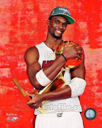 Chris Bosh with the NBA Championship Trophy Game 5 of the 2012 NBA Finals