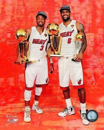 'LeBron James & Dwyane Wade with the 2012 NBA Finals & MVP ...