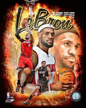 Lebron James 3 Time MVP Portrait Plus