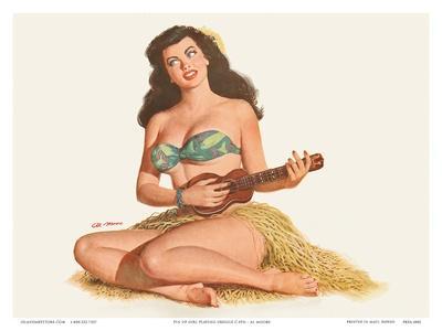 Pin Up Girl Playing Ukelele c.1951