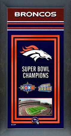Denver Broncos Framed Championship Banner