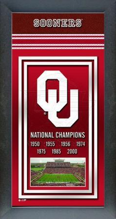 Oklahoma Sooners Framed Championship Banner