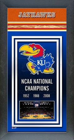 University of Kansas Jayhawks Framed Championship Banner