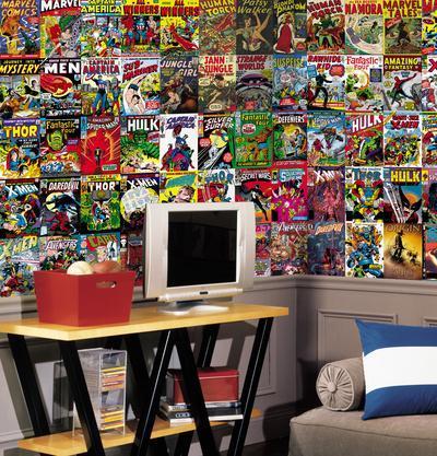Marvel Comic Chair Rail Prepasted Mural