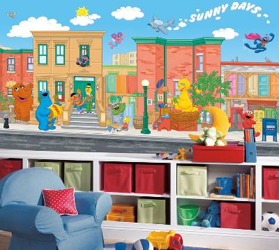 Sesame Street Chair Rail Prepasted Mural