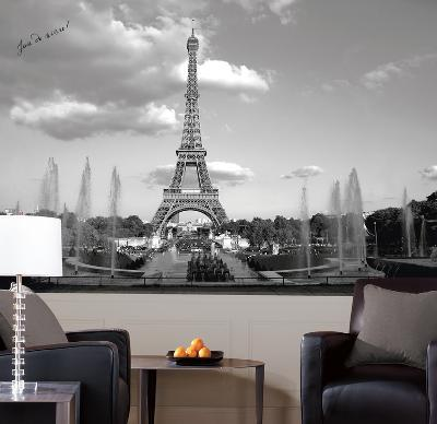 Eiffel Tower Chair Rail Prepasted Mural