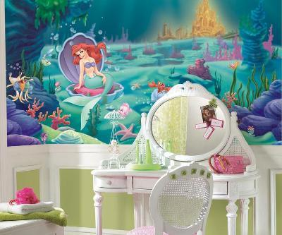 Littlest Mermaid Chair Rail Prepasted Mural