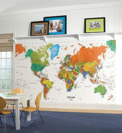 World Map Chair Rail Prepasted Mural