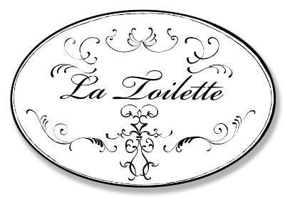 La Toilette White w/Black Oval
