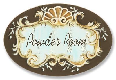 Powder Room Choc/Aqua Crest Top Oval