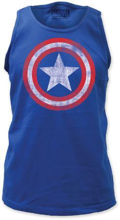 Tank Top: Captain America - Distressed Shield on Royal