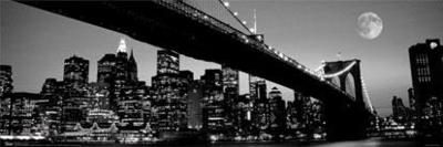 New York City - Brooklyn Bridge at Night B&W