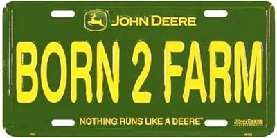 John Deere Born to Farm License Plate