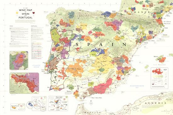 Iberia World Map.Iberia Wine Map Spain Portugal Poster Posters At Allposters Com