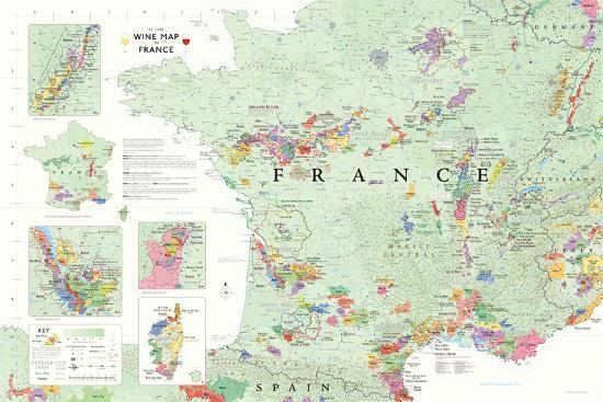 Map Of France Poster.France Wine Map Poster