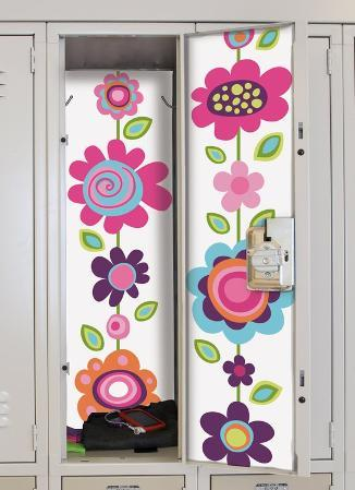 Flower Stripe Peel & Stick Locker Skins