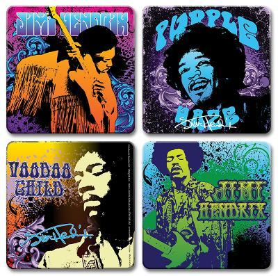 Jimi Hendrix 4pc Wood Coaster Set
