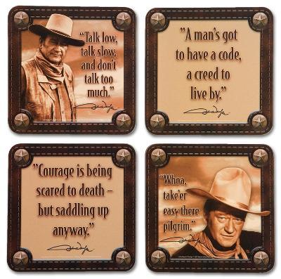 John Wayne 4pc Wood Coaster Set
