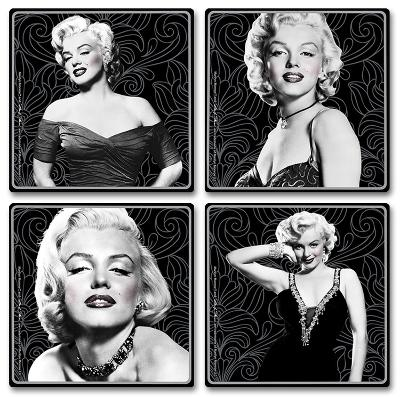 Marilyn Monroe 4pc Wood Coaster Set