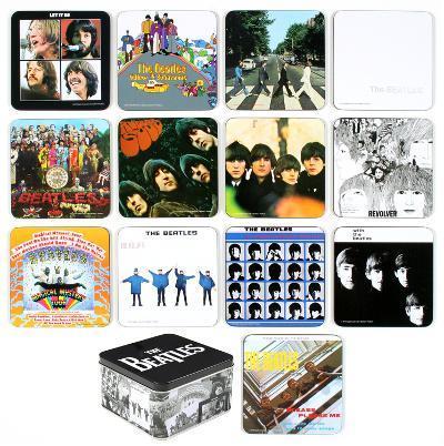 The Beatles Album Cover 13 pc Coaster Set with Tin Box