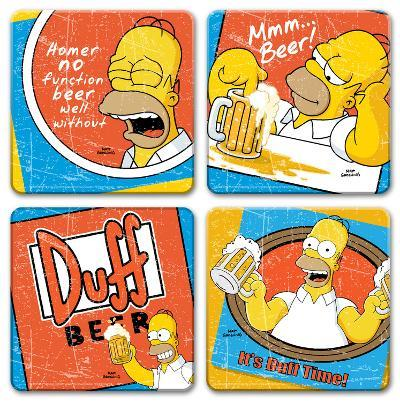 "The Simpsons ""Duff Beer"" 4pc Wood Coaster Set"