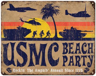USMC 'Beach Party' Steel Sign