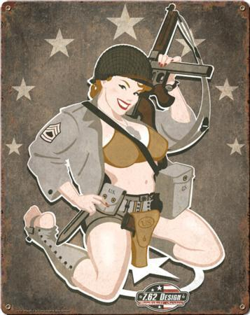 D-Day Diva Pin Up Girl Steel Sign
