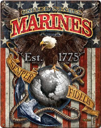 USMC Marine Corps Fighting Eagle Metal Sign