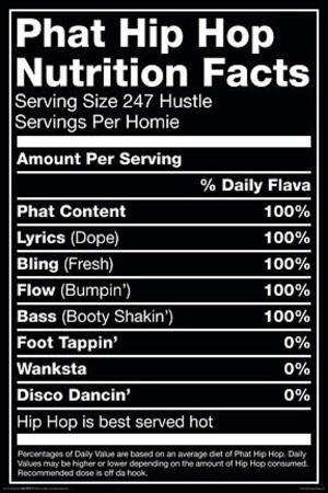 Hip Hop Nutrition Label