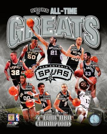 San Antonio Spurs All Time Greats Composite Photo At