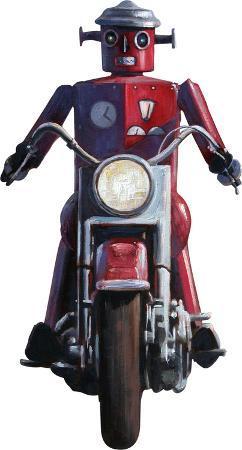 Moonrise (Robot on Motorcycle, Detail) by Eric Joyner Lifesize Standup