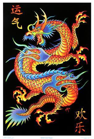 Asian Dragon Flocked Blacklight Poster