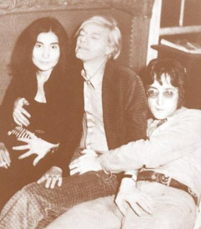 John Lennon, Yoko Ono, and Andy Warhol - Sepia Photo