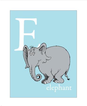 E is for Elephant (blue)