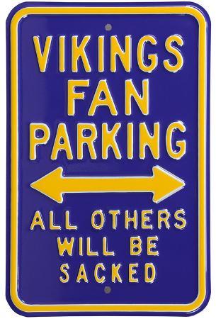 Vikings Sacked Parking Steel Sign