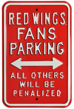 Red Wings Penalized Parking Steel Sign