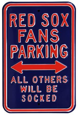 Red Sox Socked Parking Steel Sign