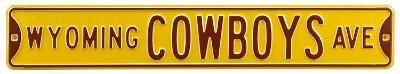 Wyoming Cowboys Ave Yellow Steel Sign