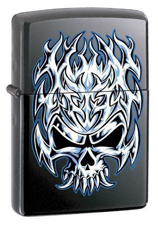 Flaming Chrome Skull - Licorice  Zippo Lighter