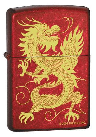 Oriental Dragon - Candy Apple Red Zippo Lighter
